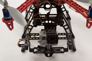 Great choice for video production is this camera mount that has rubber grommets separating the mounting platform from the actual quadcopter frame. There is also a separate control for the X and Y axes of the camera for stabilization.