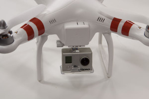 Some quadcopters come with pre-installed camera mounts such as this DJI Phantom.