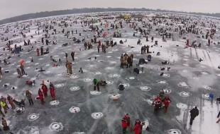 Drone Aerial footage: Largest Ice fishing contest!