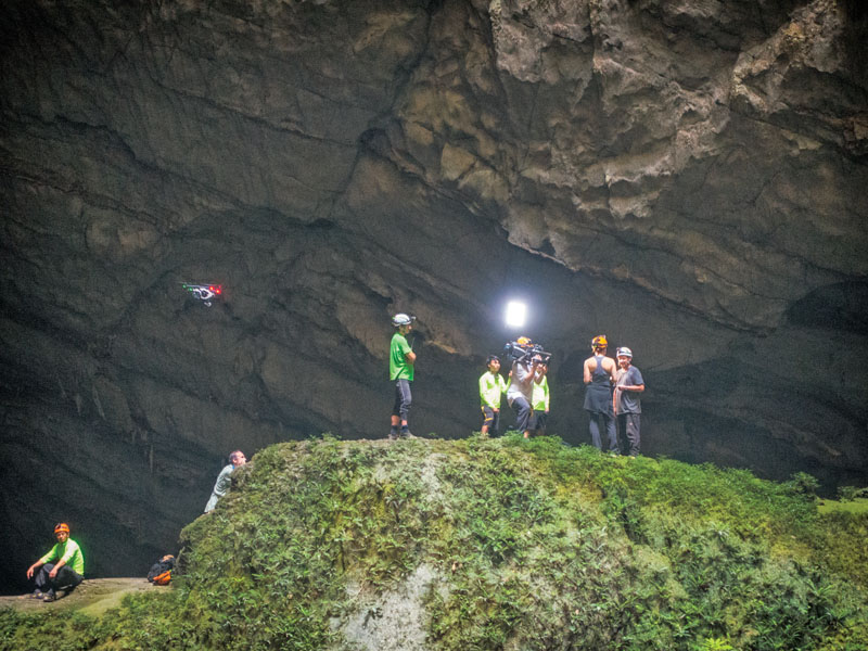 The ABC Good Morning America team uses a handheld camera to film a conversation between ABC's Ginger Zee and Oxalis Adventure cave expert Howard Limbert, while we fly the DJI Inspire 1 for aerial footage.