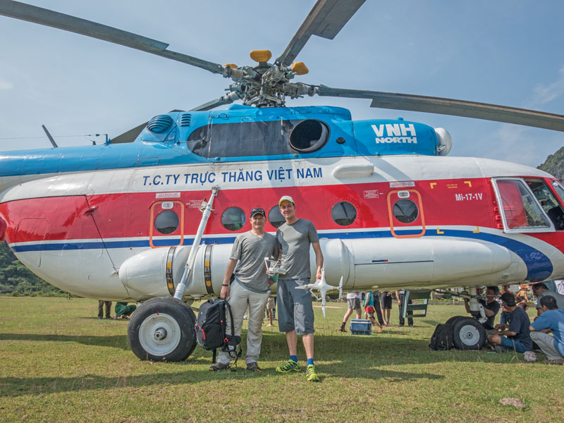 Russian Mi-17 helicopter helped us transport gear and people through the jungle. Ferdinand Wolf of Skynamics (left) and Romeo Durscher of DJI (right) are in front of this machine.