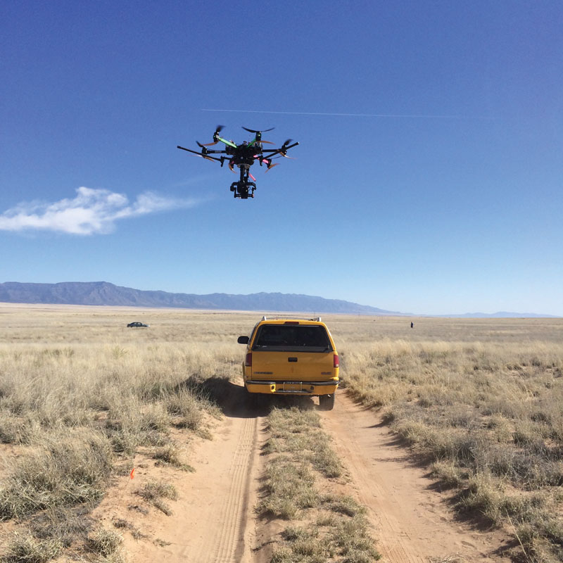 Aerial cinematography outfits like AeroCine use drone-mounted cameras to film action sequences like this car chase in New Mexico more safely and more affordably than a manned aircraft could.