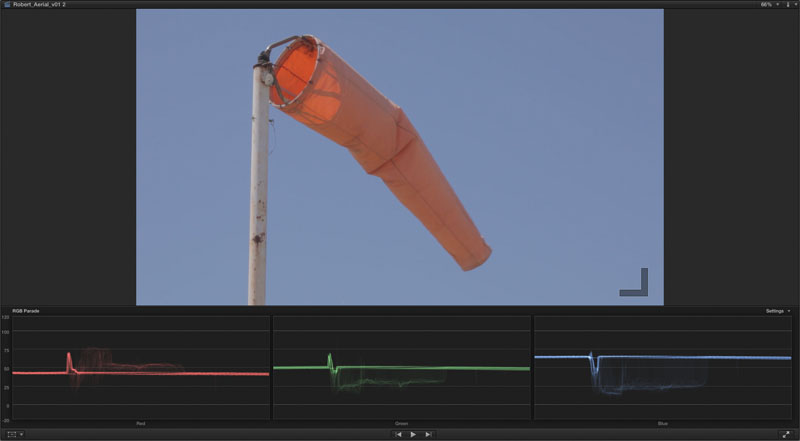 This shot is an example of B-roll. It will help define environmental surroundings to your audience without a single spoken word. Having the scopes available when you're tagging clips can help you know at a glance if there's anything technically wrong with your clips.