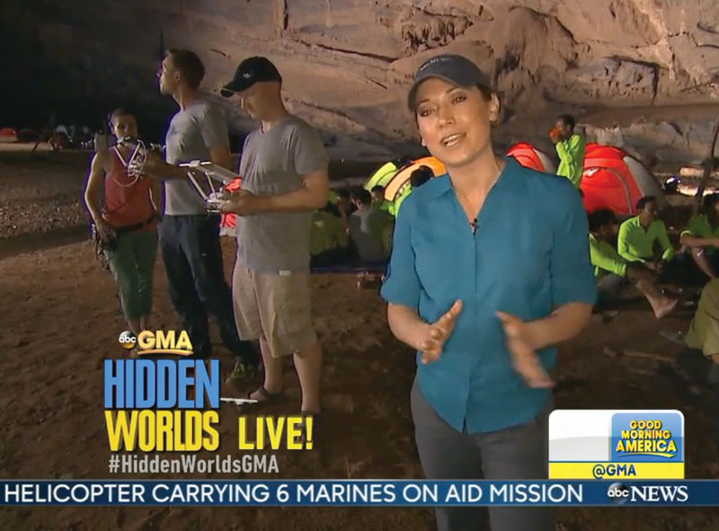 TV screenshot from the ABC Good Morning America live broadcast out of the Hang En cave. Our focus was intense!