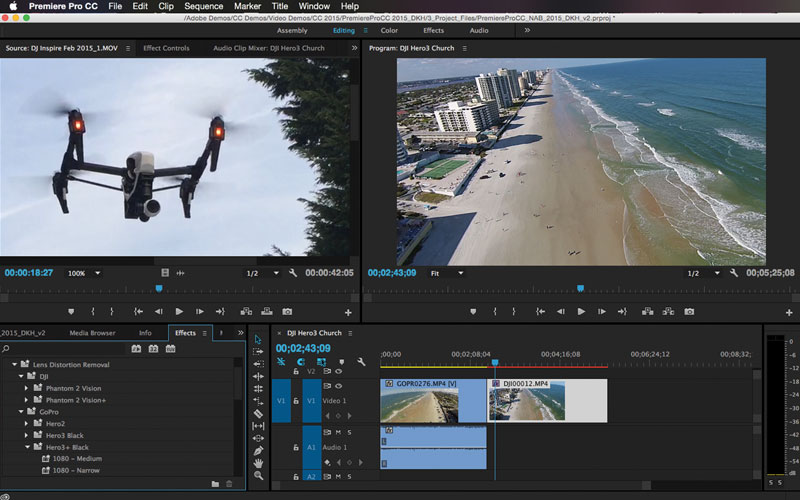 Adobe Premiere Pro offers a unique feature that helps fix some common issues such as image distortion commonly seen on GoPro or proprietary cameras that come with smaller drones like the DJI Phantom Vision and Vision 2+.