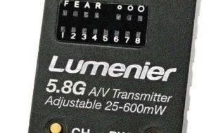The Lumenier TX5GA  5.8GHz Adjustable RF  power (25-600mW) FPV transmitter easily changes your output radio-frequency power at the push of a button: 25mW, 200mW, or 600mW.