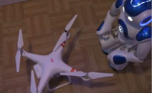 Robot Flies a Drone