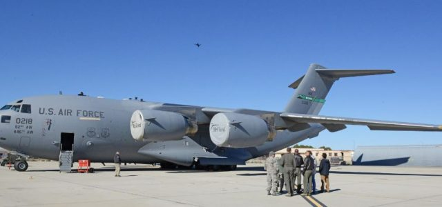 USAF — Quadcopters conduct maintenance inspections  on C-17 Globemaster III