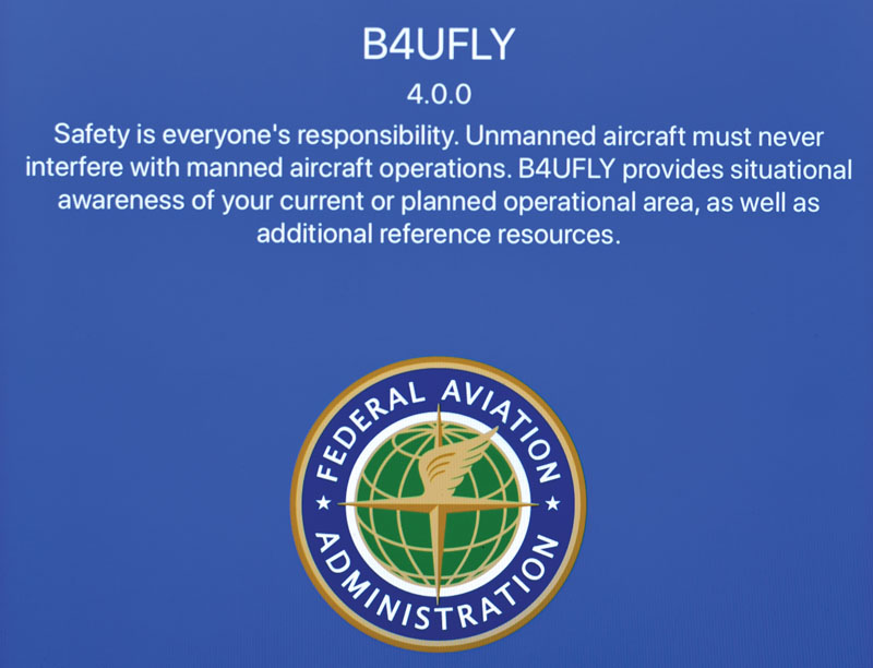 Message from the FAA displayed when opening the B4UFLY app.ccc