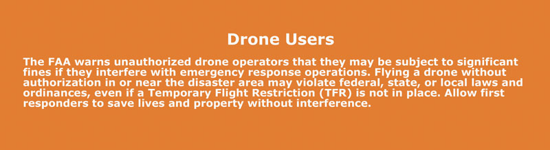 Warning from the FAA to all drone users displayed when opening the B4UFLY appccc